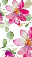 """8"""" x 5"""" Pink and Green Floral Paper Guest Towels"""