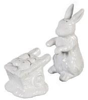 "4"" White Ceramic Bunny and Wheelbarrow Salt and Pepper Shakers"