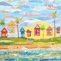 "5"" Square Beach Huts Paper Beverage Napkins"