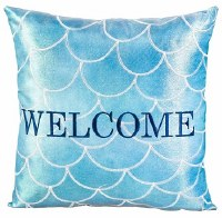 "18"" Square Blue Scales Welcome Pillow"