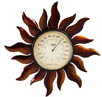"""14"""" Plastic Copper Sun Wall Thermometer"""