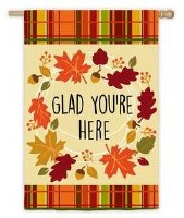 "44"" x 28"" Glad You're Here House Flag"