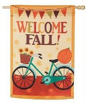 "44"" x 28"" Welcome Fall Bike House Flag"