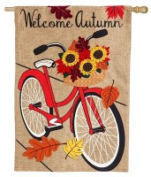 "44"" x 28""  Welcome Autumn Bike House Flag"