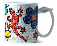 "5"" Multicolor Gecko and Flowers Mug"