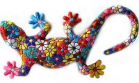 """7"""" Multicolored Mosaic Floral Gecko"""
