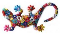 """4"""" Multicolor Mosaic Floral Gecko Magnet"""