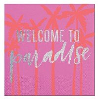 """5"""" Square Welcome to Paradise Foil Paper Beverage Napkins"""