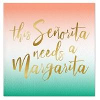 "5"" Square Senorita Margarita Foil Paper Beverage Napkins"