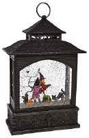 "11"" LED Black Plastic Glitter Lantern With Witch"