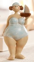 """6"""" Polka Dots Beach Lady With Boat"""