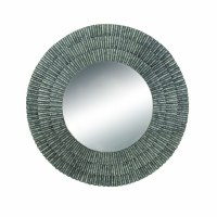 """37"""" Round Ribbed Textured Metal Mirror"""