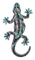 """4"""" Blue Mosaic Ceramic Gecko Magnet"""