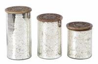 Set of 3 Distressed Silver Finish Glass Canisters Wood Top