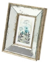 """4"""" x 6"""" Distressed Gold and Silver Finish Mirror Wood Frame"""