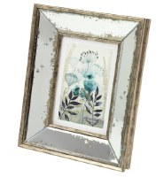 """5"""" x 7"""" Distressed Gold and Silver Finish Mirror Wood Frame"""