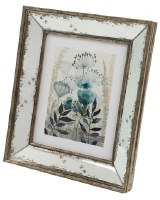 """8"""" x 10"""" Distressed Gold and Silver Finish Mirror Wood Frame"""