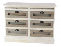"""41"""" Distressed White Finish 6 Display Glass Cabinet"""