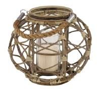 """10"""" Brown Round Ratten Lantern"""