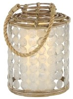 "16"" Brown Capiz Disk and Rattan Lantern"