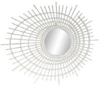 """41"""" White Oval Rays Mirror"""