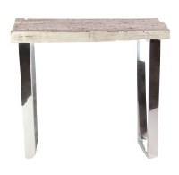 """20"""" Whitewash Wood End Table With Stainless Steel Legs"""