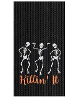 "27"" x 18"" Killin It Black Waffle Kitchen Towel"