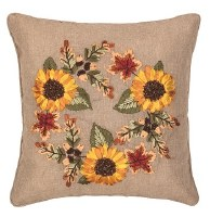 "16"" Square Sunflower Wreath Ribbon Art Pillow"