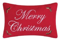 """8"""" x 12"""" Red Merry Christmas Embroidered Pillow"""