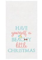 "27"" x 18"" Beachy Little Christmas Waffle Kitchen Towel"