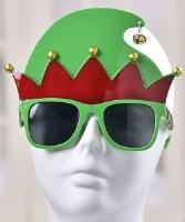 """6"""" Green Elf Hat Sunglasses"""
