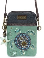 """8"""" Turquoise Turtle Dazzled Cell Crossbody Purse"""