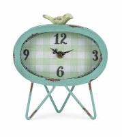"8"" Aqua Oval Clock with Bird"