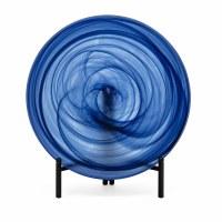 "16"" Round Navy Swirl Glass Platter with Stand"