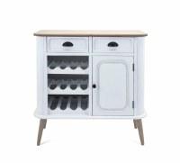 "35"" Distressed White Finish 2 Drawer 1 Door Wine Cabinet"