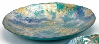 """24"""" Blue / Green / Gold Glass Bowl Large"""