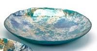 "20"" Blue / Green / Gold Glass Bowl Medium"