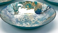 """16"""" Blue / Green / Gold Glass Bowl Small"""