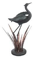 "27"" Verdigris Heron With Copper Reeds"