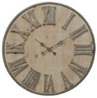 "30"" Round Whitewashed Galvanized Metal Roman Numeral Wall Clock"