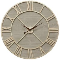 "36"" Round Distressed White Metal Finish and Wood Wall Clock"