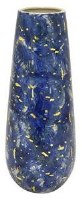"18"" Blue and Gold Ceramic Cylinder Vase"
