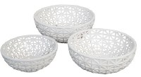 "14"" Round White Openwork Ceramic Bowl"