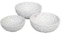 "12"" Round White Openwork Ceramic Bowl"