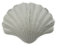 "3"" Distressed White Metal Finish Scallop Drawer Pull"