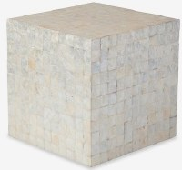 "16"" Square White Capiz Stool"
