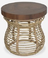 """20"""" Round Brown Wood Top Rattan End Table"""