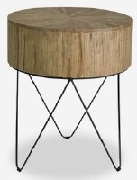 "20"" Round Brown Wood Top End Table With Metal Legs"