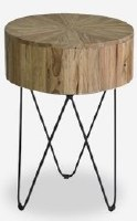 """14"""" Round Brown Wood Top End Table With Metal Legs"""