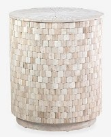 "20"" Round Whitewash Wood Square Pattern Storage End Table"